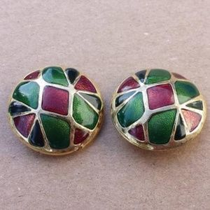 Vintage Dome Gold Tone Green Red Clip On Earrings